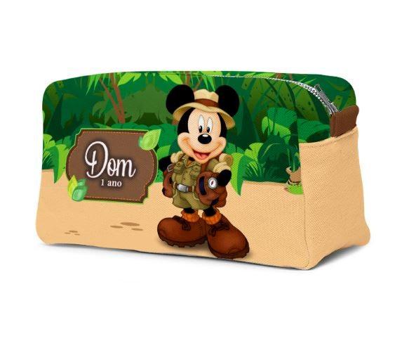 Estojo Necessaire Festa Mickey Safari Lembrancinha  - PLACT ZUM