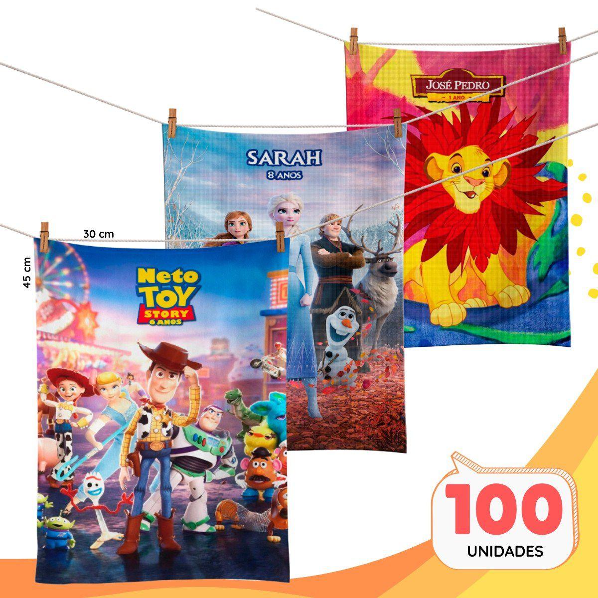 Kit com 100 Toalhinhas de Mão Personalizadas Para Sua Festa  - PLACT ZUM