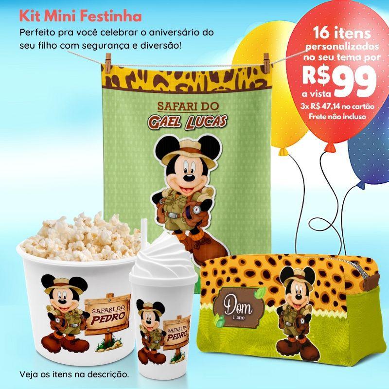 Kit Mini Festinha Mickey Safari  - PLACT ZUM