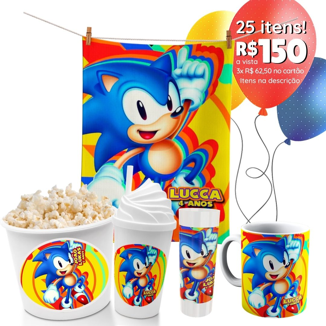 Mini Festinha Sonic Personalizada  - PLACT ZUM