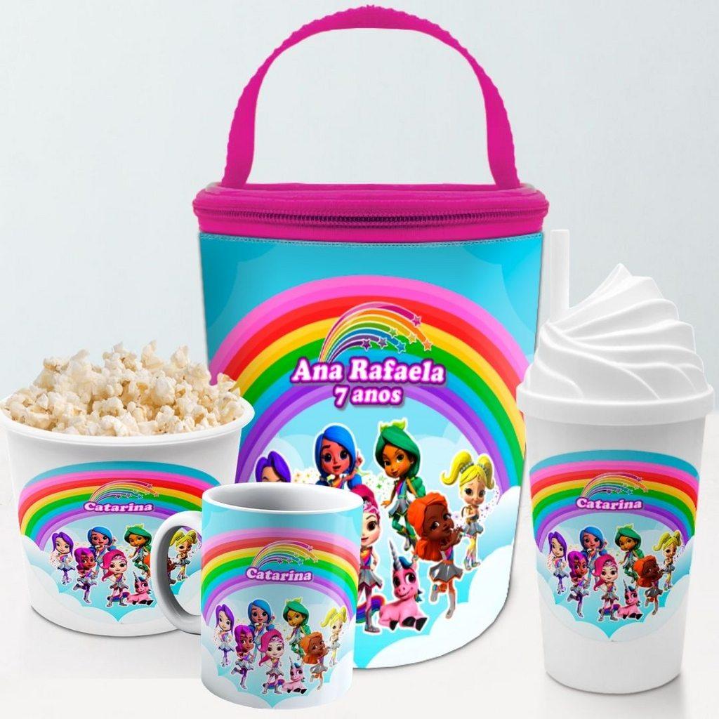 Kit Presente Festa Rainbow Rangers Frasqueira Balde Copo  - PLACT ZUM