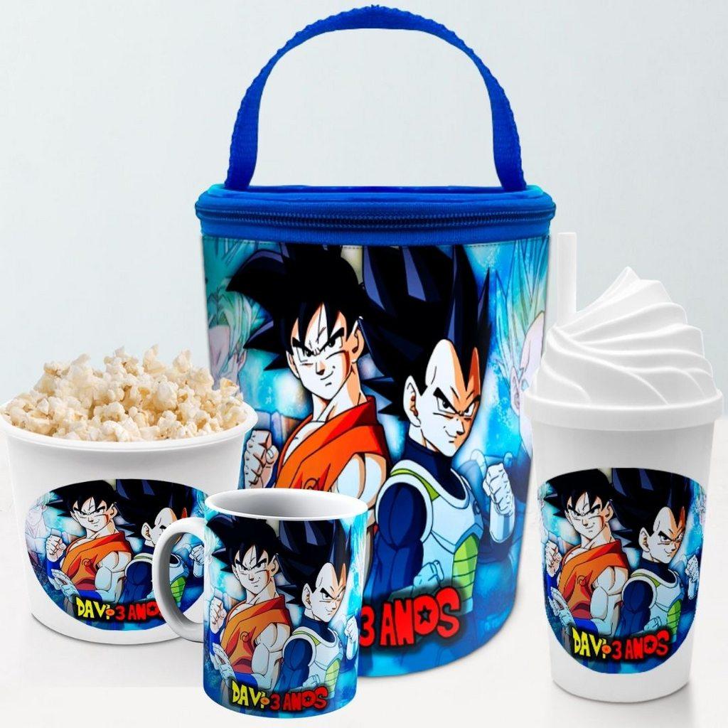 Kit Presente Festa Dragon Ball Frasqueira Balde Copo Caneca  - PLACT ZUM