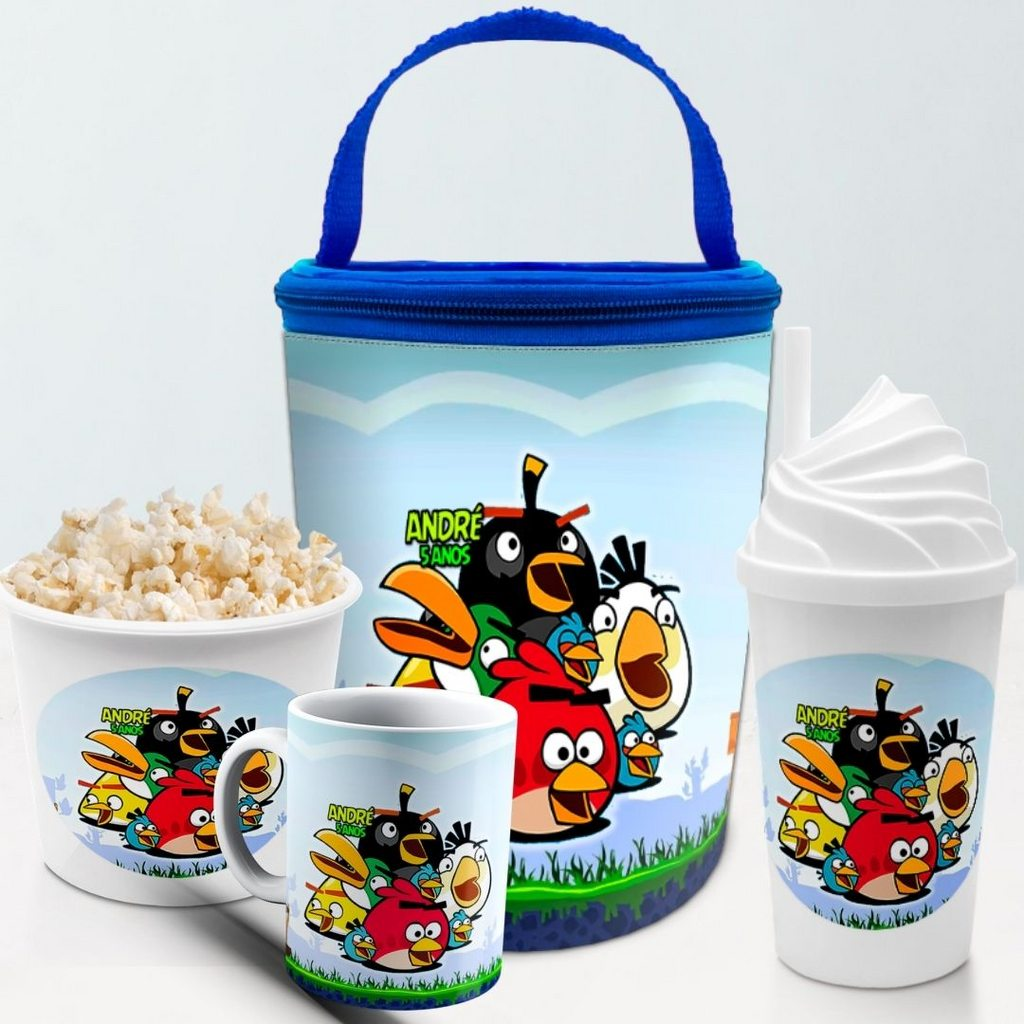 Kit Presente Festa Angry Birds Frasqueira Balde Copo Caneca  - PLACT ZUM