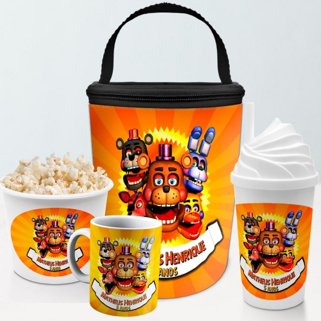 Kit Presente Festa Five Nights Frasqueira Balde Copo Caneca  - PLACT ZUM