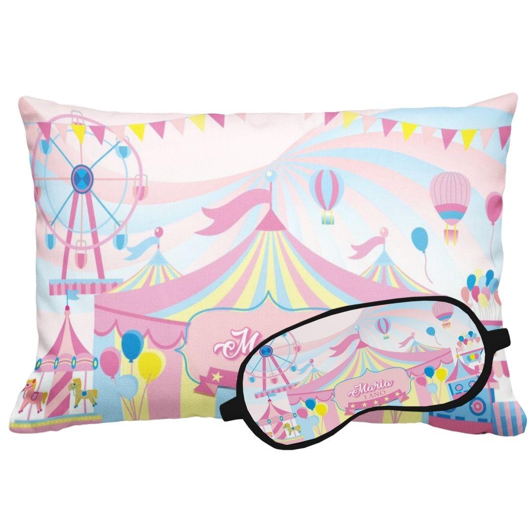 Kit Soninho Circo Rosa Almofada E Máscara Para Dormir Personalizados  - PLACT ZUM