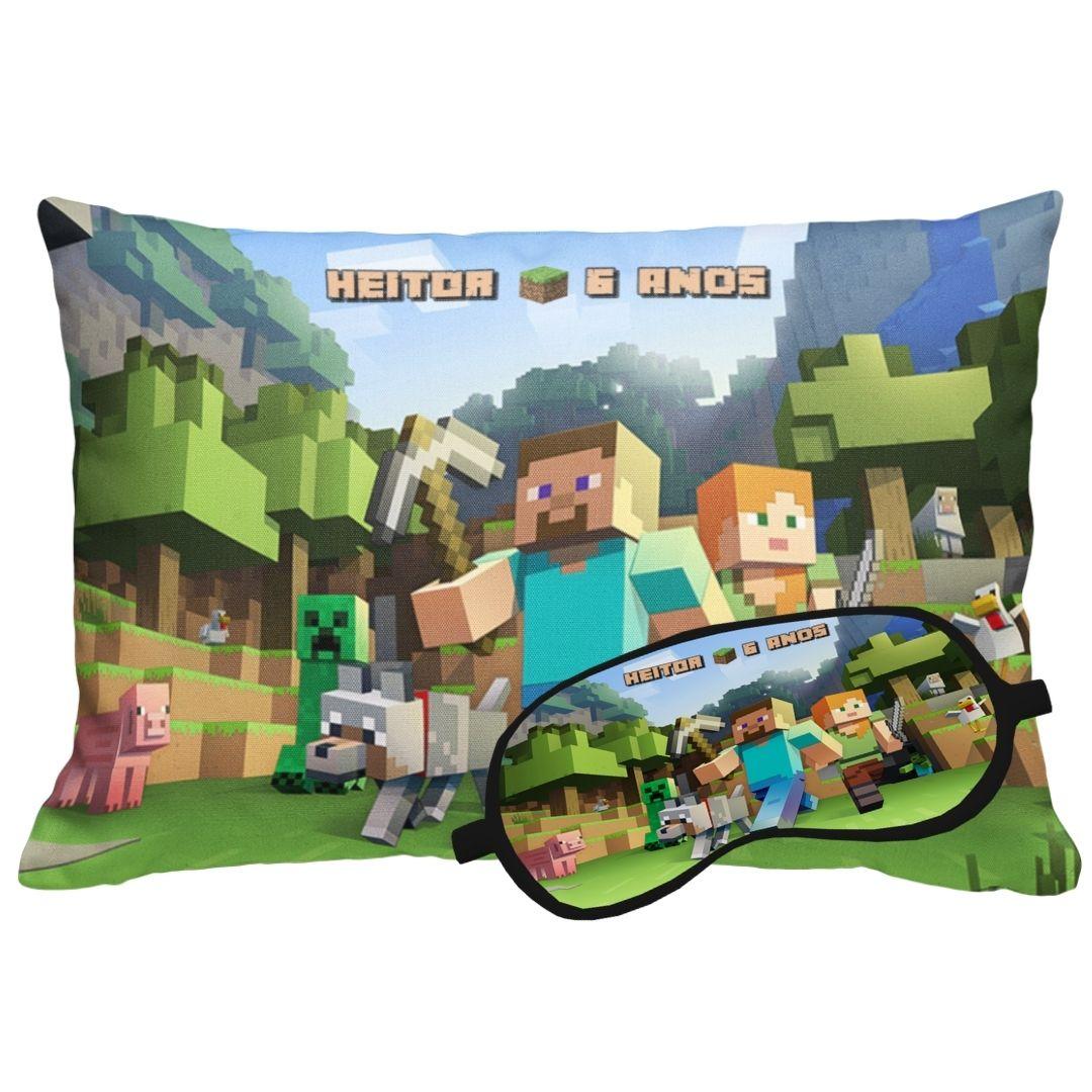 Kit Soninho Minecraft Almofada E Máscara Para Dormir Personalizados  - PLACT ZUM