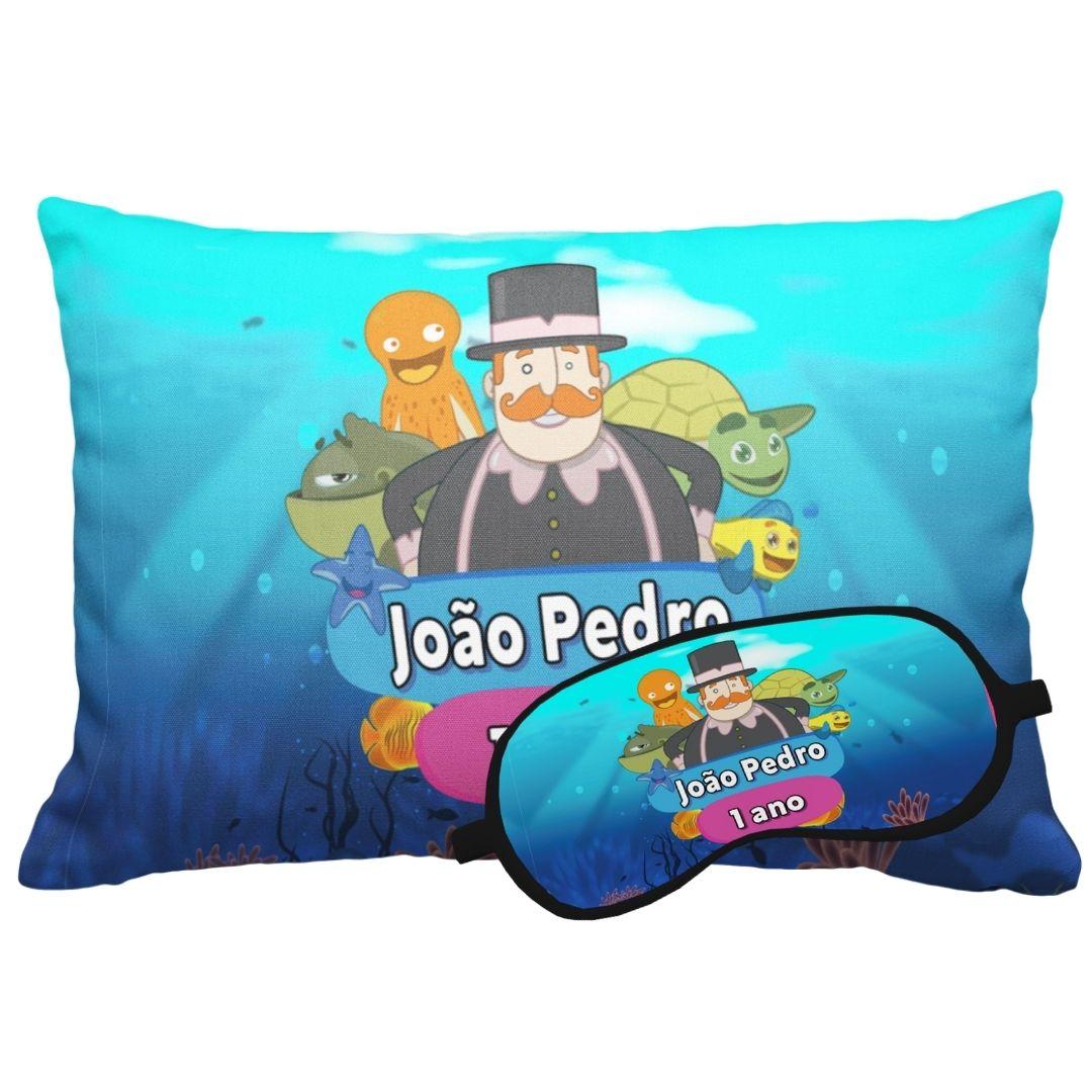 Kit Soninho Mundo Bita No Fundo Do Mar Almofada E Máscara Para Dormir Personalizados  - PLACT ZUM