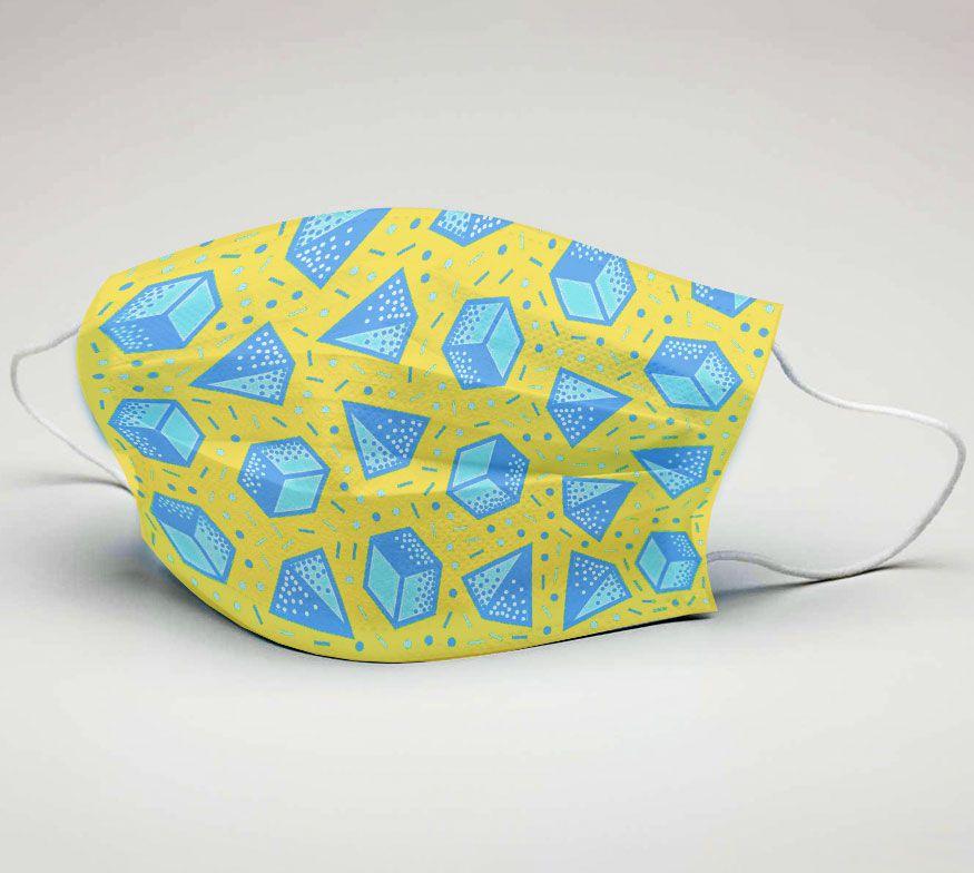 Mascara de Tecido Tactel Dupla Camada Reutilizável  ref. Formas Geométricas  - PLACT ZUM