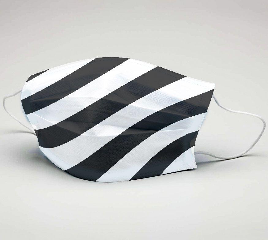 Mascara de Tecido Tactel Dupla Camada Reutilizável  ref. Futebol Preto e Branco dgn  - PLACT ZUM