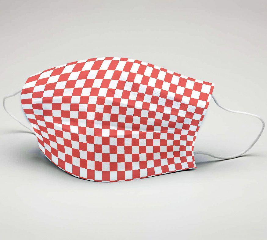 Mascara de Tecido Tactel Dupla Camada Reutilizável  ref. Futebol Vermelho e Branco xad  - PLACT ZUM