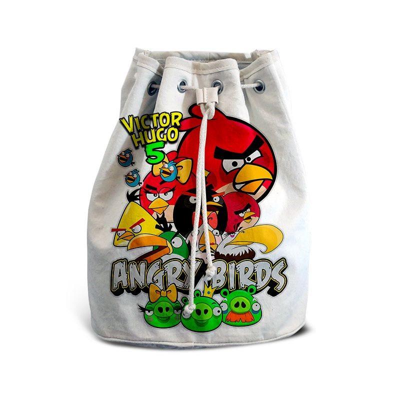 Mochila de Mão Festa Angry Birds Lembrancinha  - PLACT ZUM