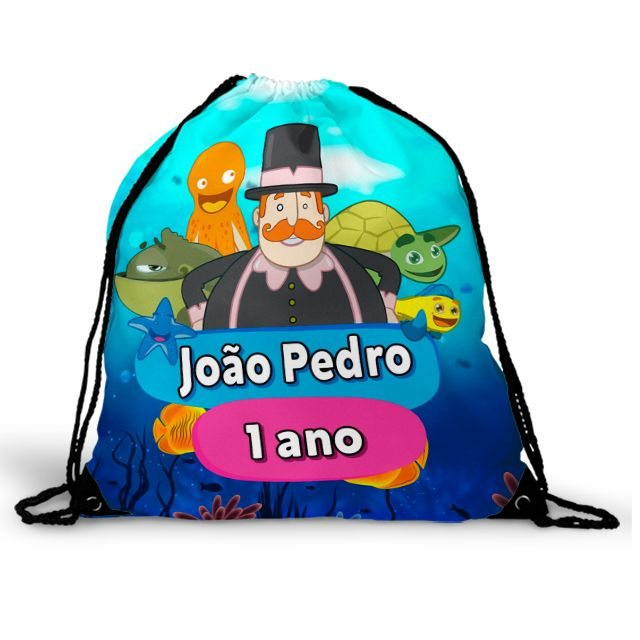 Mochila Saco Festa Mundo Bita No Fundo Do Mar Lembrancinha  - PLACT ZUM
