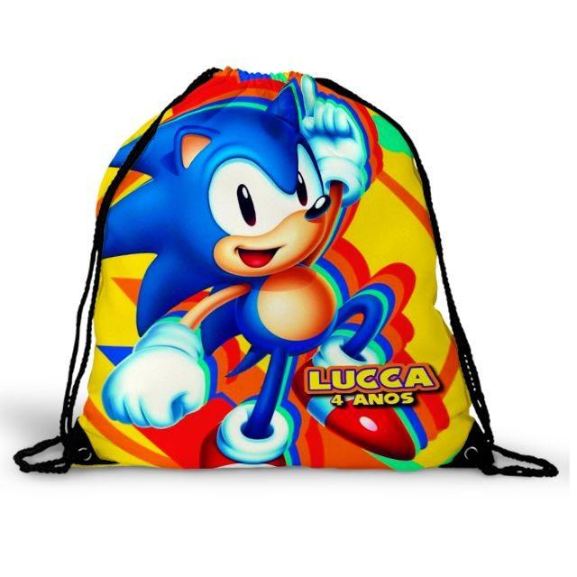 Mochila Saco Festa Sonic Lembrancinha Aniversário  - PLACT ZUM