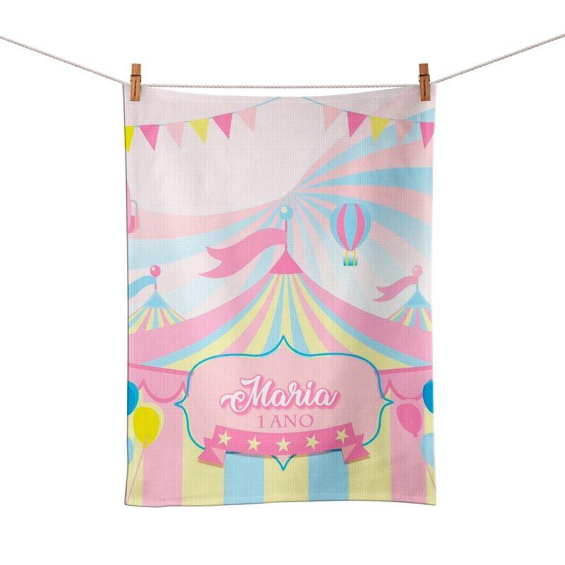 Toalhinha de Mão Festa Circo Rosa Lembrancinha  - PLACT ZUM