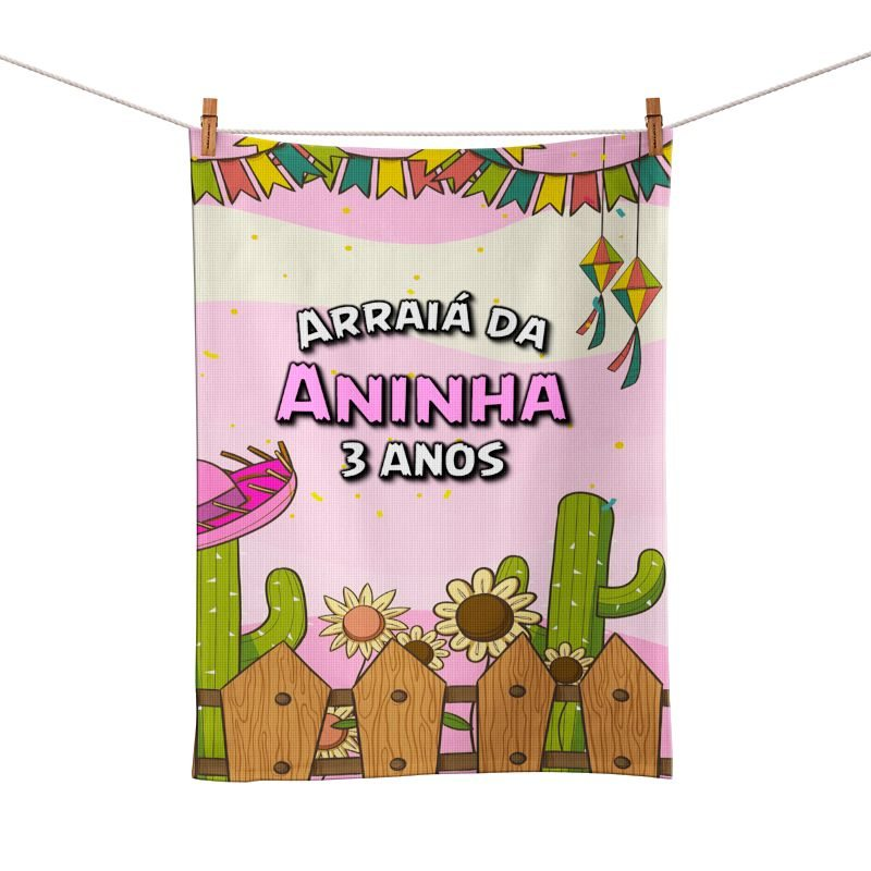 Toalhinha de Mão Festa Festa Junina Rosa Lembrancinha  - PLACT ZUM