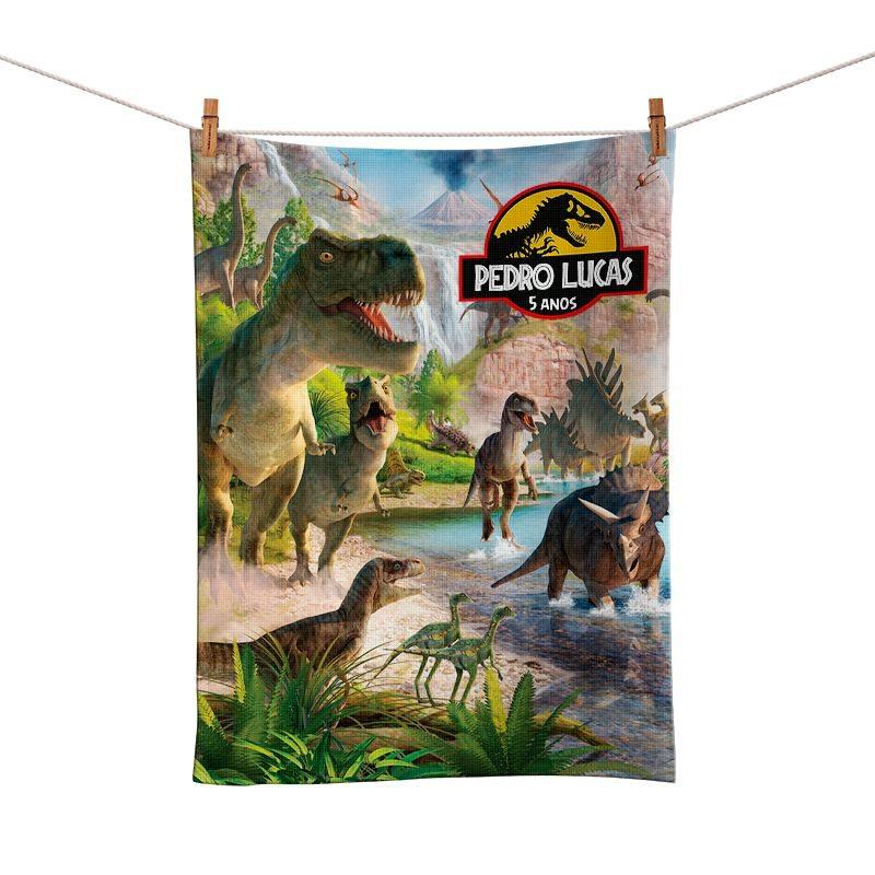 Toalhinha De Mão Dinossauro Personalizada  - PLACT ZUM