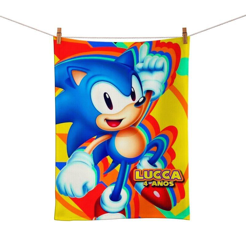 Toalhinha de Mão Festa Sonic Lembrancinha  - PLACT ZUM