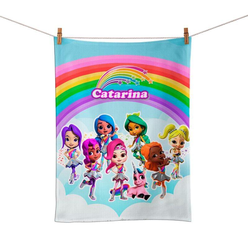 Toalhinha de Mão Festa Rainbow Rangers Lembrancinha  - PLACT ZUM