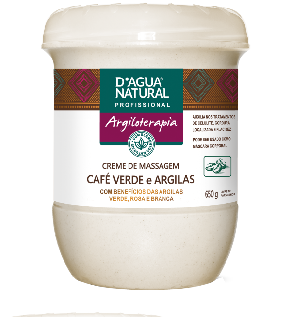 CREME DE MASSAGEM ARGILOTERAPIA CAFE VERDE