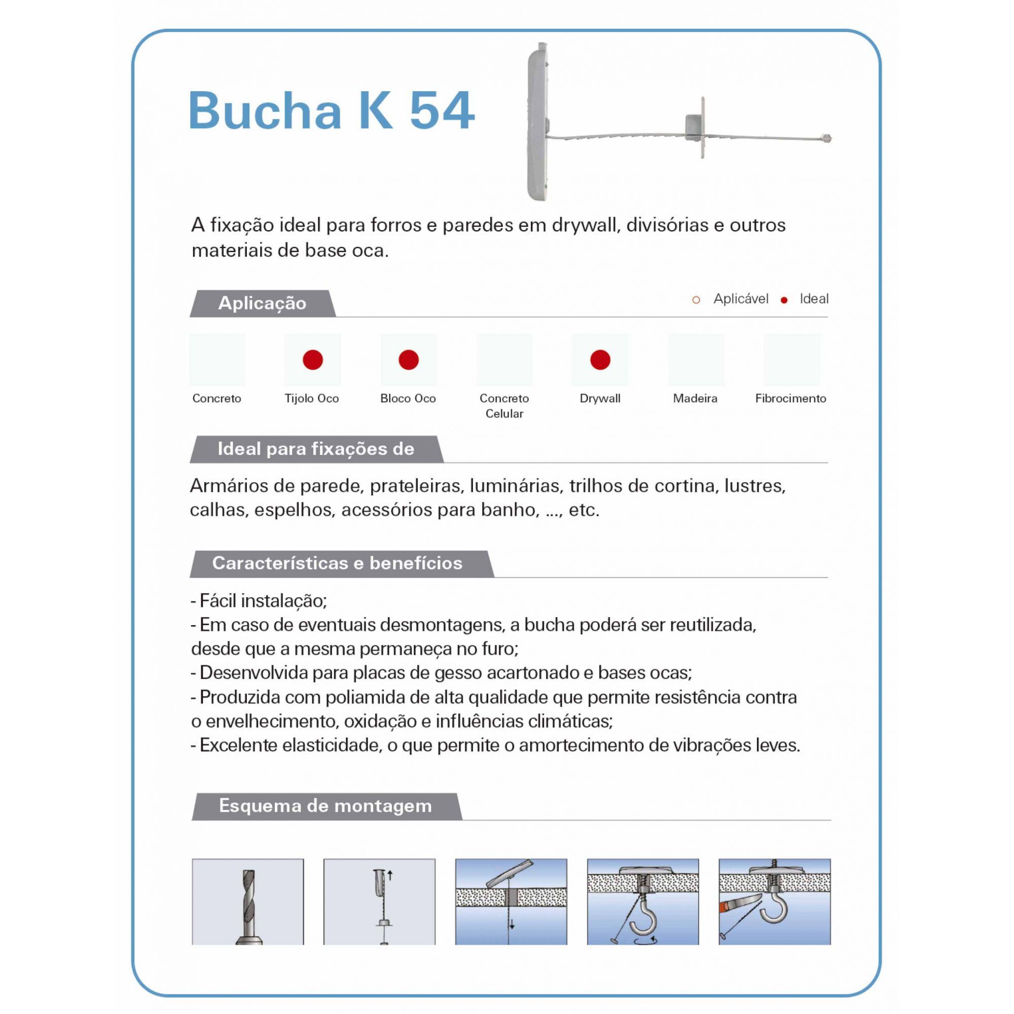 BUCHA DE GESSO K-54 CAIXA COM 10 UNIDADES