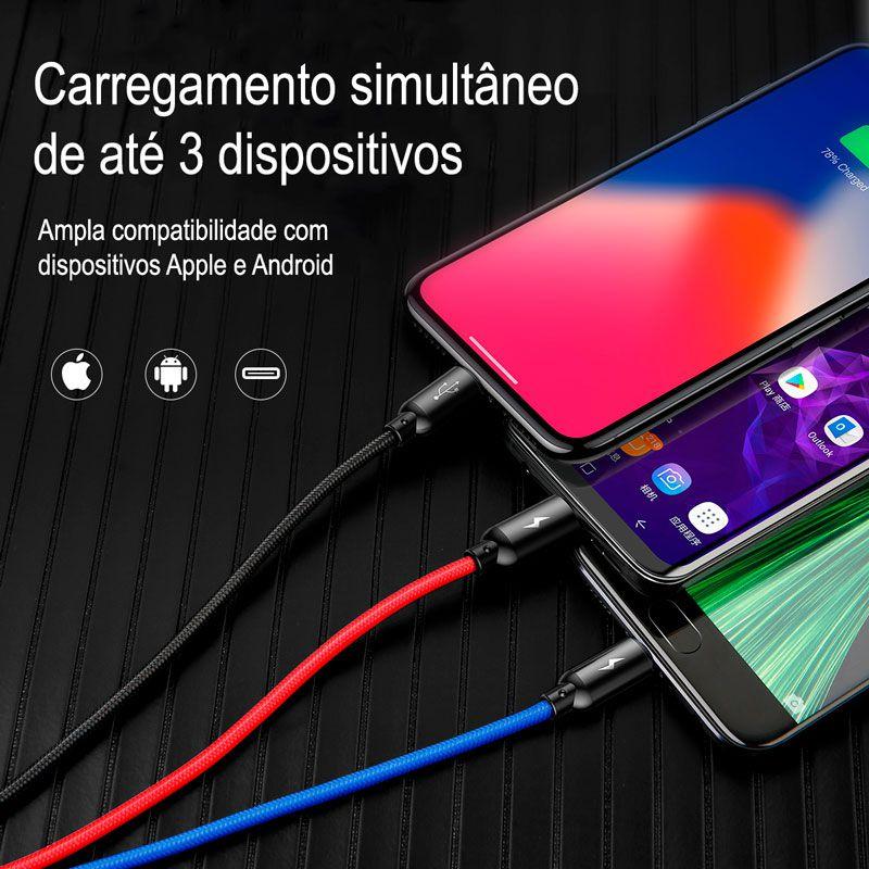 Cabo 3n1 Cores Primárias Baseus: USB para Type-C, Lightning e Micro USB