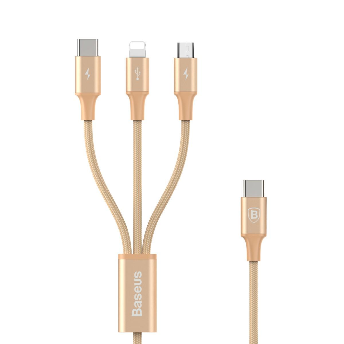 Cabo 3n1 Rapid Series: Micro USB + Lightning + Type-C para Type-C