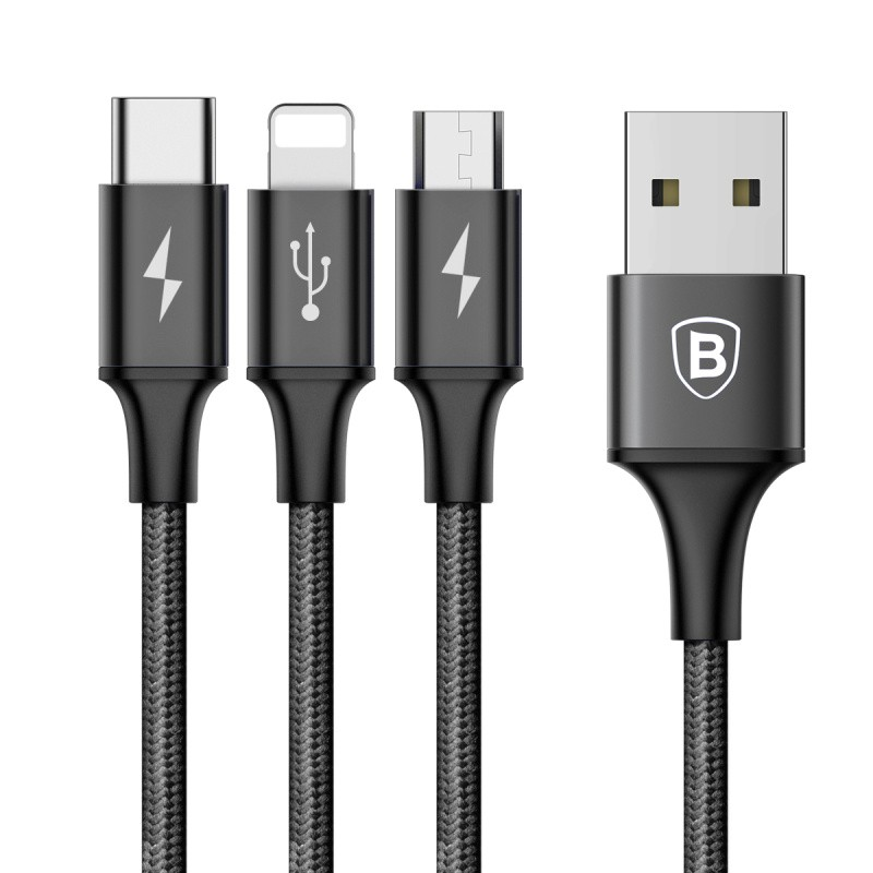 Cabo 3n1 Rapid Series: Micro USB + Lightning + Type-C para USB