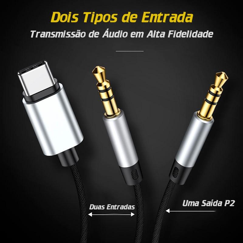 Cabo De Audio Aux L38 P2 Para Type-C e P2