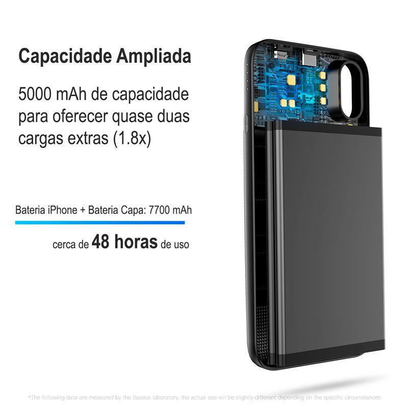 Capa + Carregador Portátil Magnético Sem Fio para iPhone X Baseus 1+1