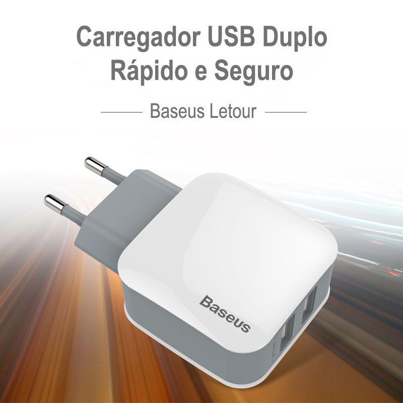 Carregador de Parede USB Duplo Bivolt 2.4A Baseus Letour