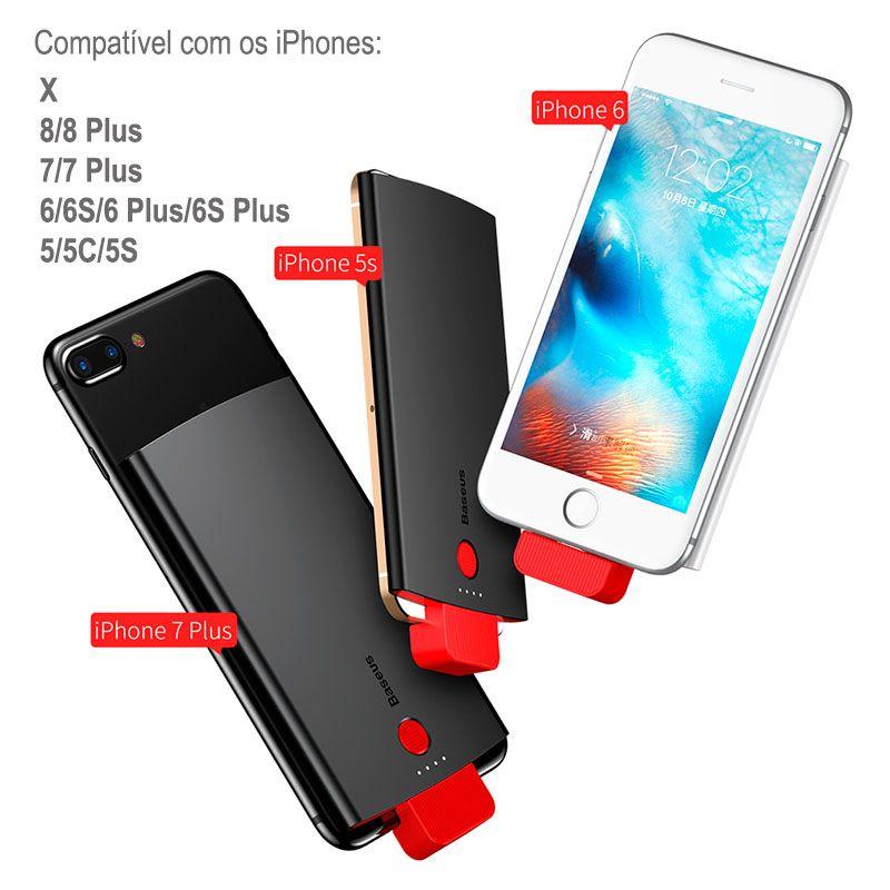 Carregador Portátil Baseus 4000 mAh para iPhone X, 8/8 Plus, 7/7 Plus, 6/6S/Plus, 5S/5C/5