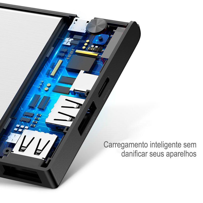 Carregador Portátil Baseus Esazi Com Entrada Dupla e Display Digital com 10.000 mAh