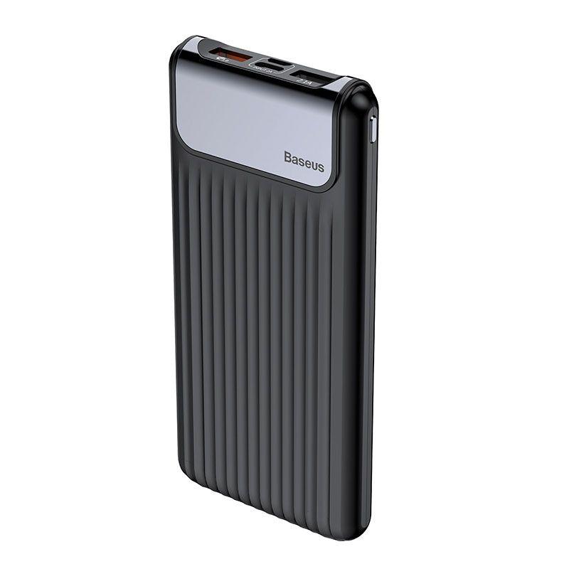 Carregador Portátil Baseus Thin 10000 mAh Display Digital Duplo USB e QC 3.0