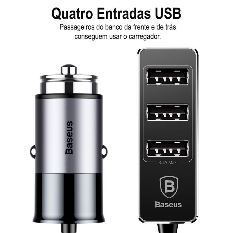 Carregador Veicular Baseus Enjoy Together 4 x USB e 5.5A