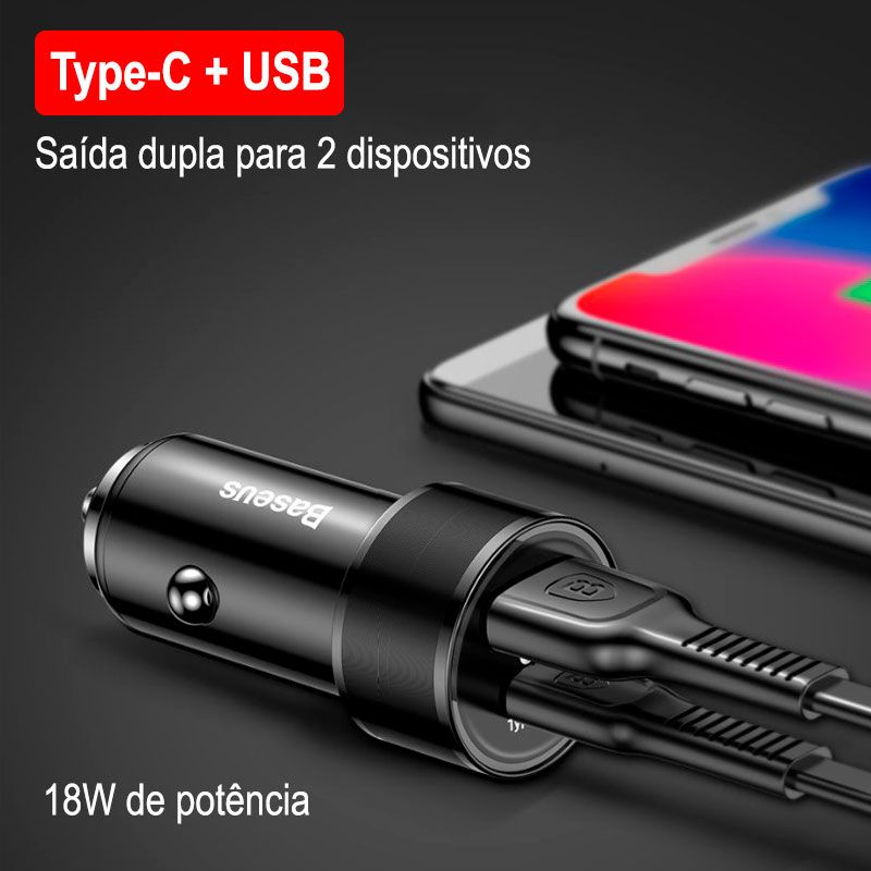 Carregador Veicular Rápido PD Type-C + USB Baseus Small Screw 36W