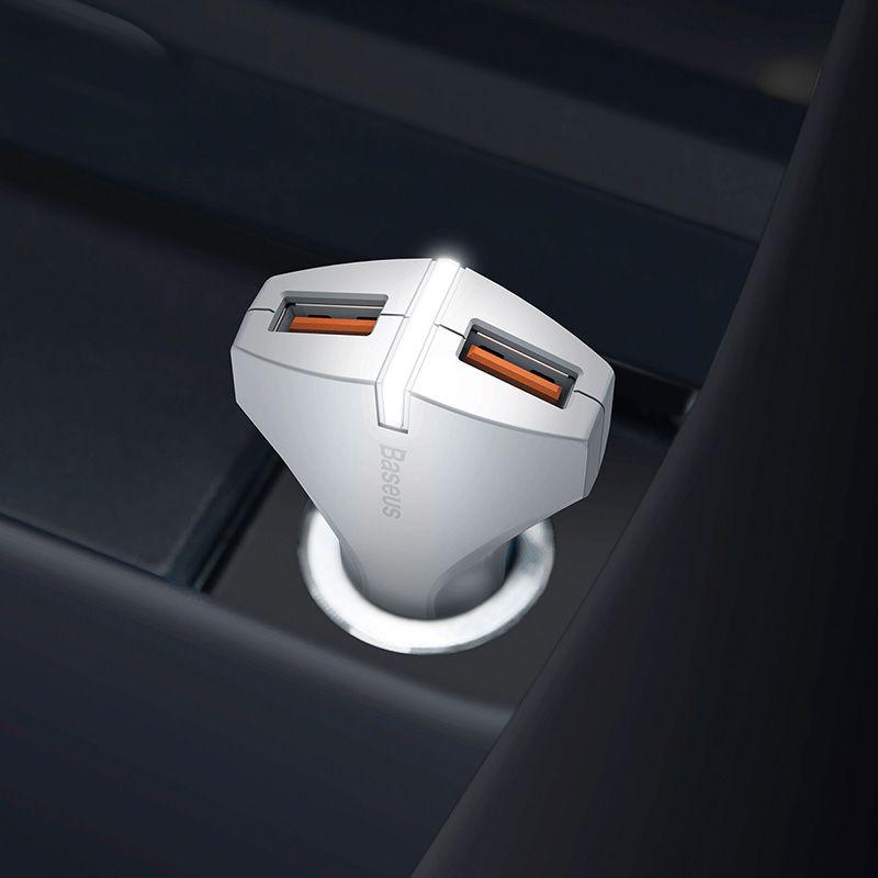 Carregador Veicular Rápido Baseus Rocket QC 3.0 USB Duplo
