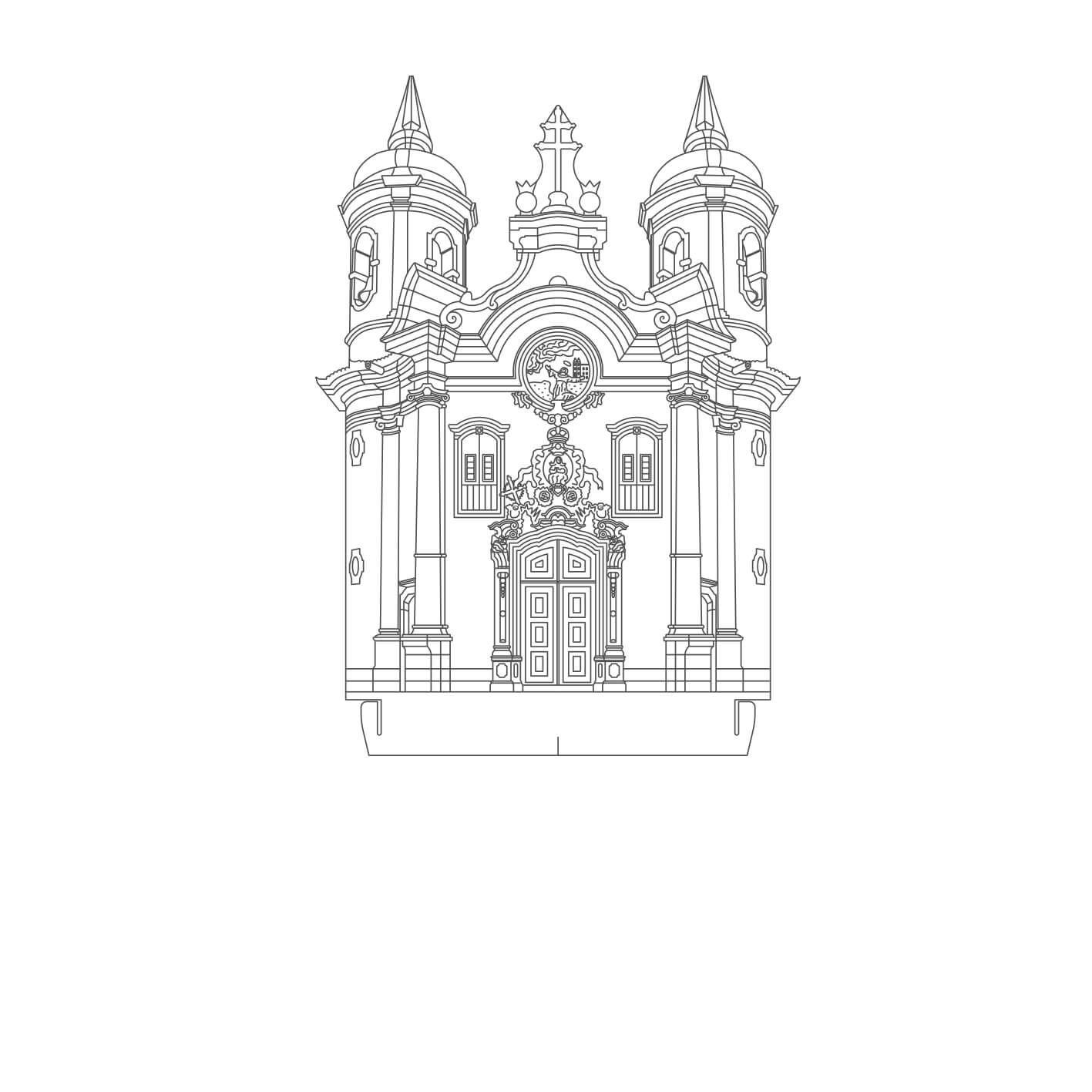 Minas Gerais - Acrílico Igreja S. Fco. Assis - Ouro Preto