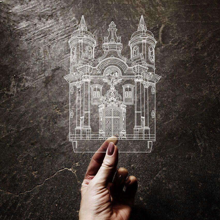 Acrílico Igreja S. Fco. Assis - Ouro Preto