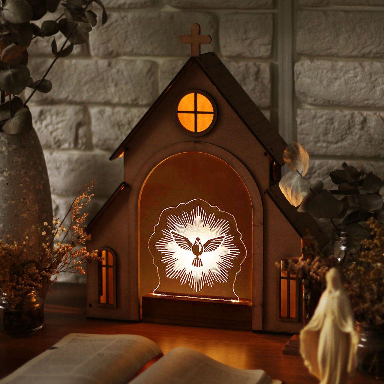 Capelinha de Oração para montar + Luminária Espírito Santo