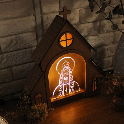 Capelinha de Oração para montar + Luminária Imaculado Coração de Maria