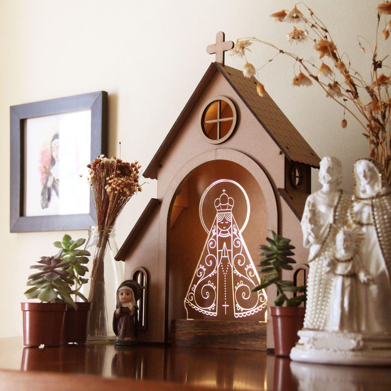 Capelinha de Oração para montar + Luminária Nossa Senhora