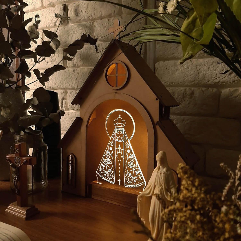 Capelinha de Oração para montar + Luminária Nossa Senhora Aparecida
