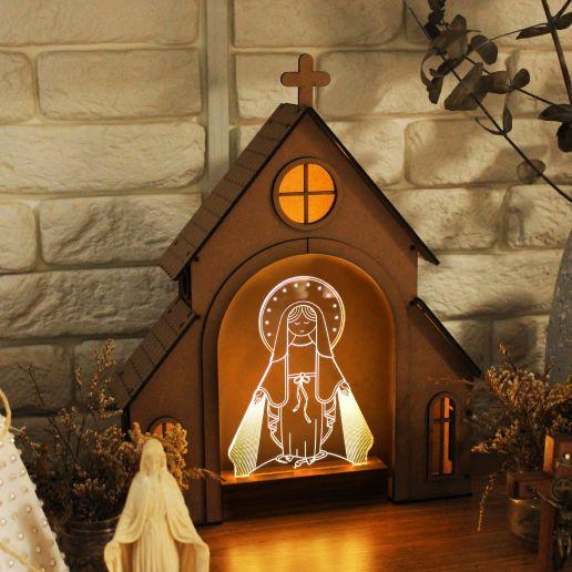 Capelinha de Oração para montar + Luminária Nossa Senhora das Graças