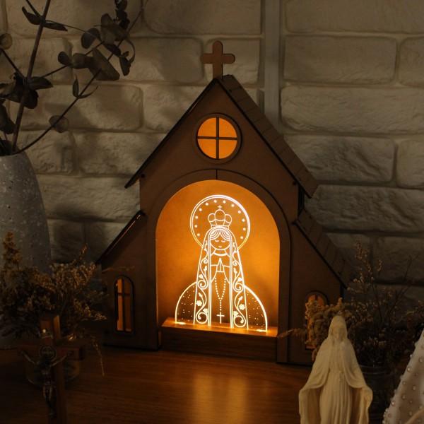Capelinha de Oração para montar + Luminária Nossa Senhora de Fátima