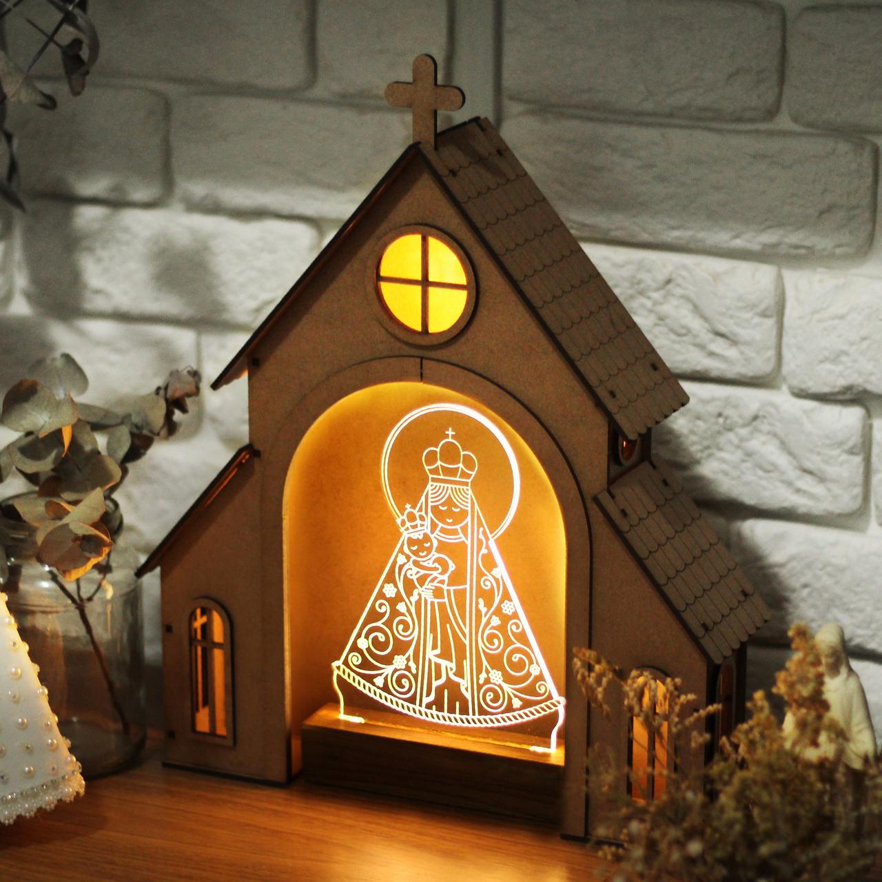 Capelinha de Oração para montar + Luminária Nossa Senhora de Nazaré