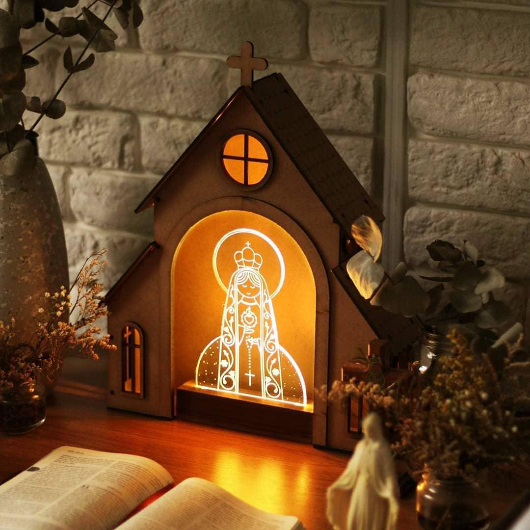 Capelinha de Oração para montar + Luminária Sagrado Coração de Maria