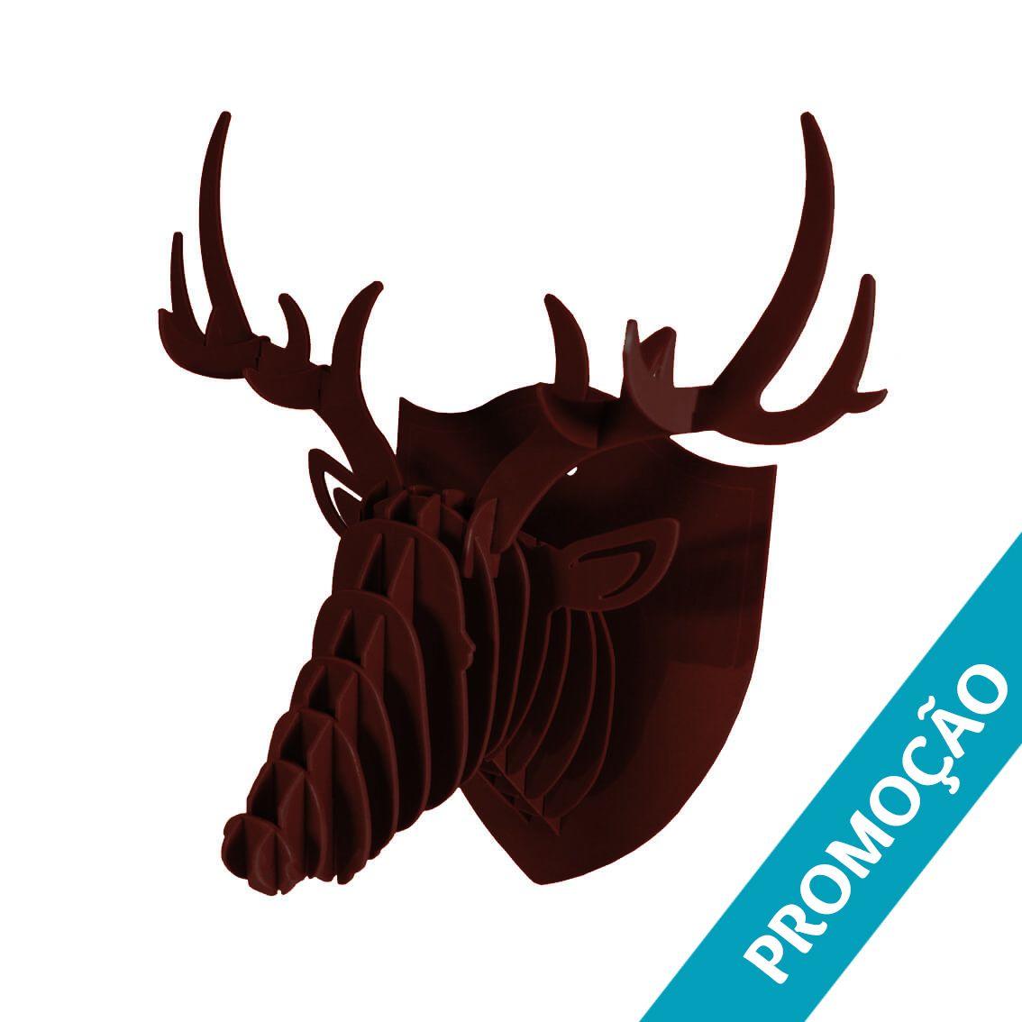 Cabeça para montar em acrilico marrom - Cervo