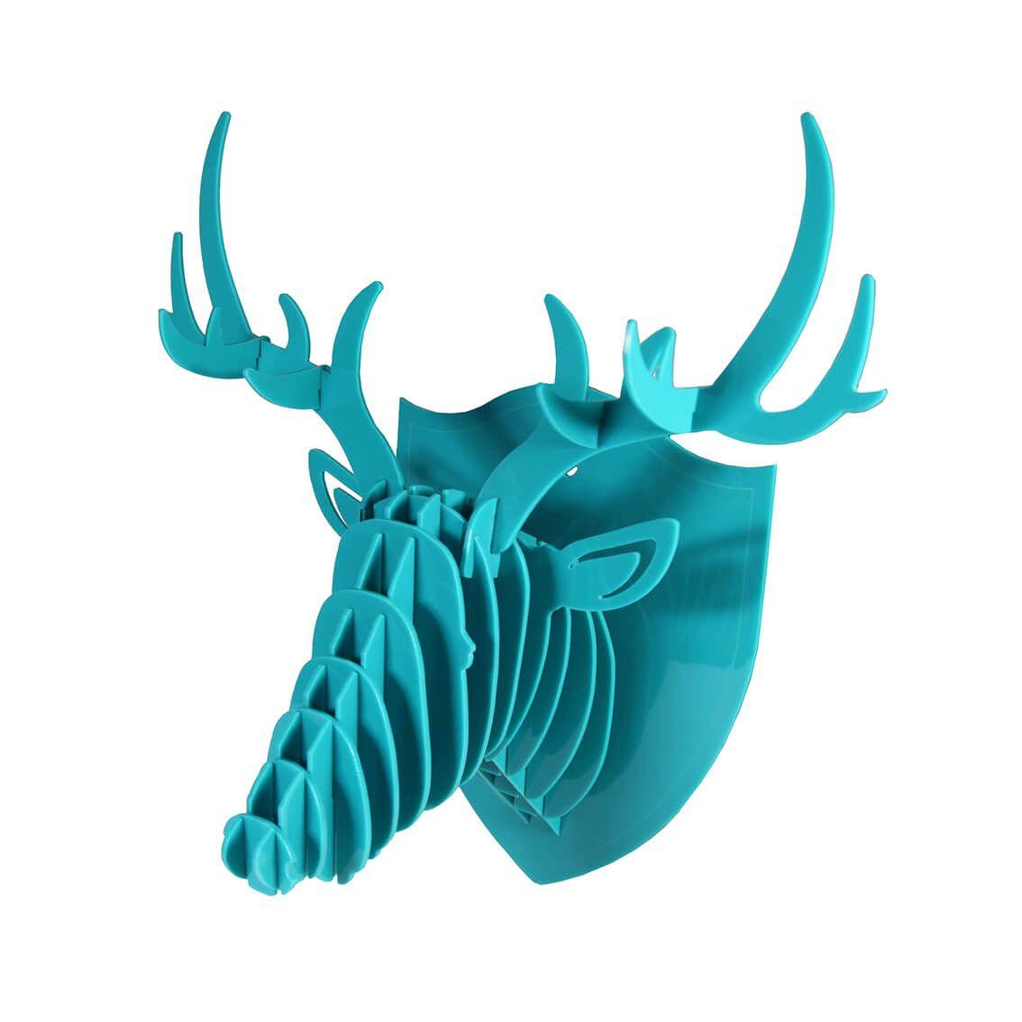 Cabeça para montar em acrilico verde água - Cervo