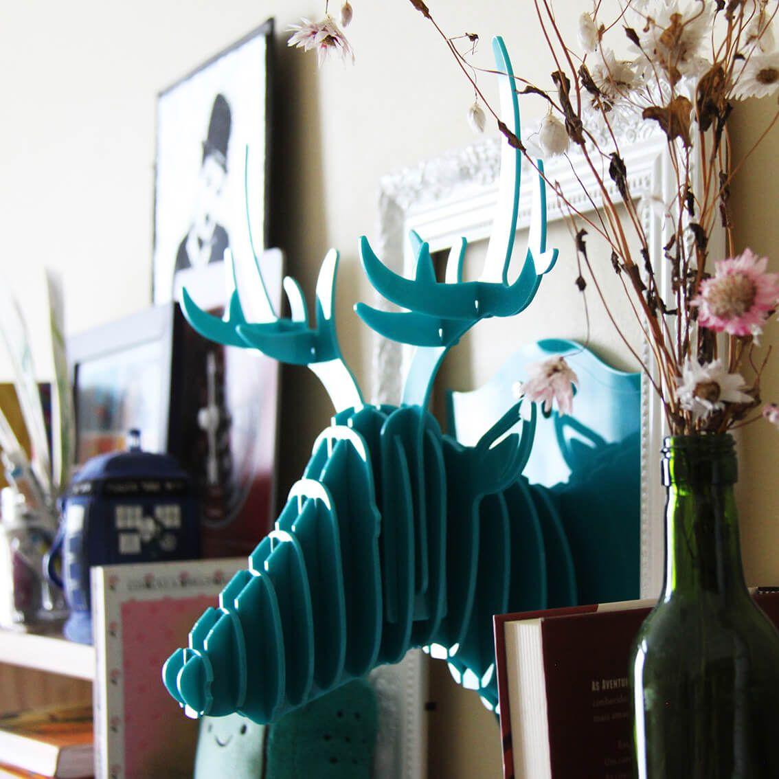 Cabeça para montar - Cervo acrilico verde água