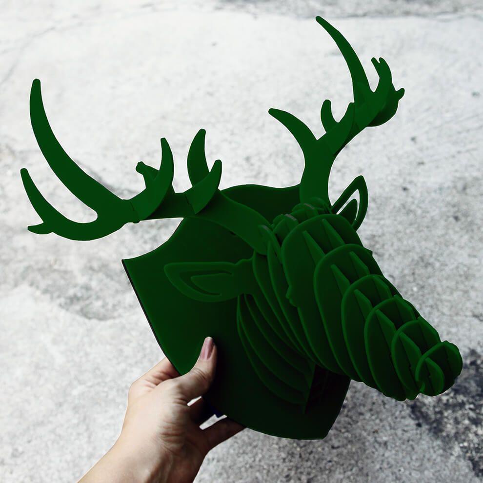 Cabeça para montar em acrilico verde escuro - Cervo